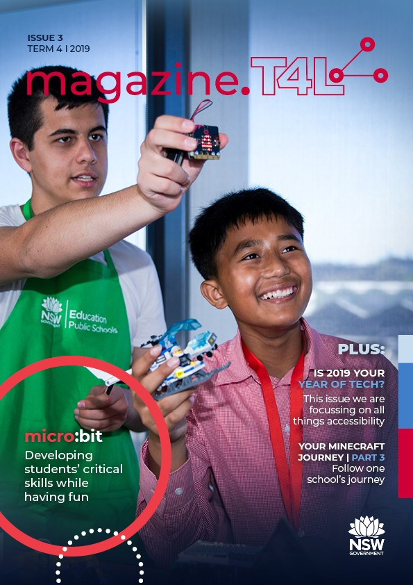 T4L's magazine issue 3 with two male students showing their friend a microbit