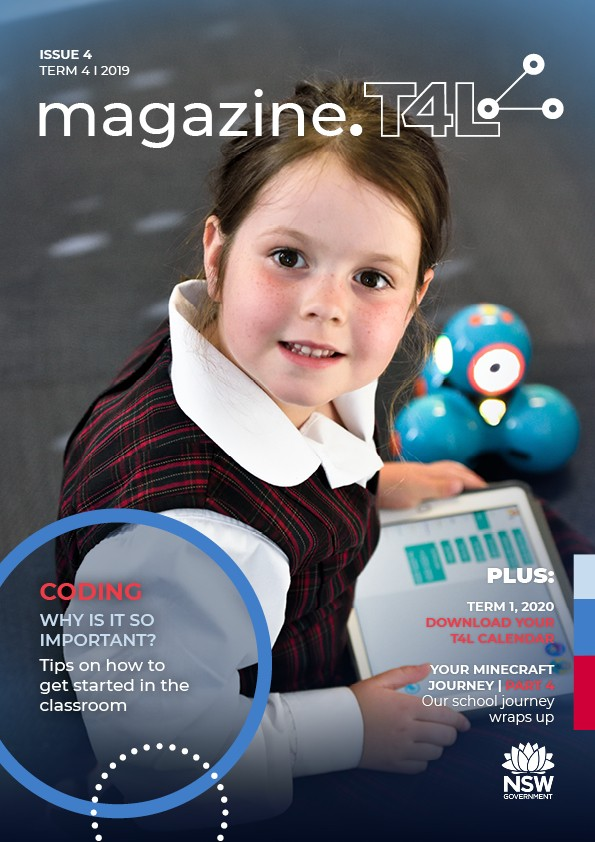 T4L's magazine issue 4 with a female student smiling and doing coding on a iPad