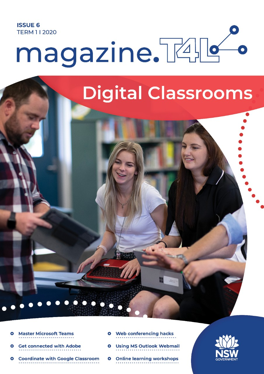 A group of teachers discuss and work on their different devices on a magazine cover