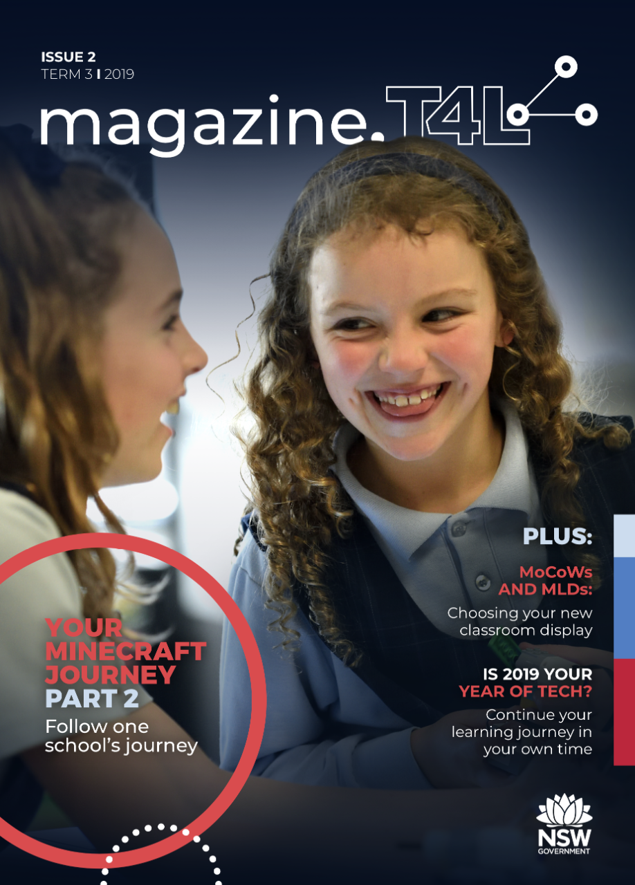 T4L's magazine issue 2 with two female students smiling