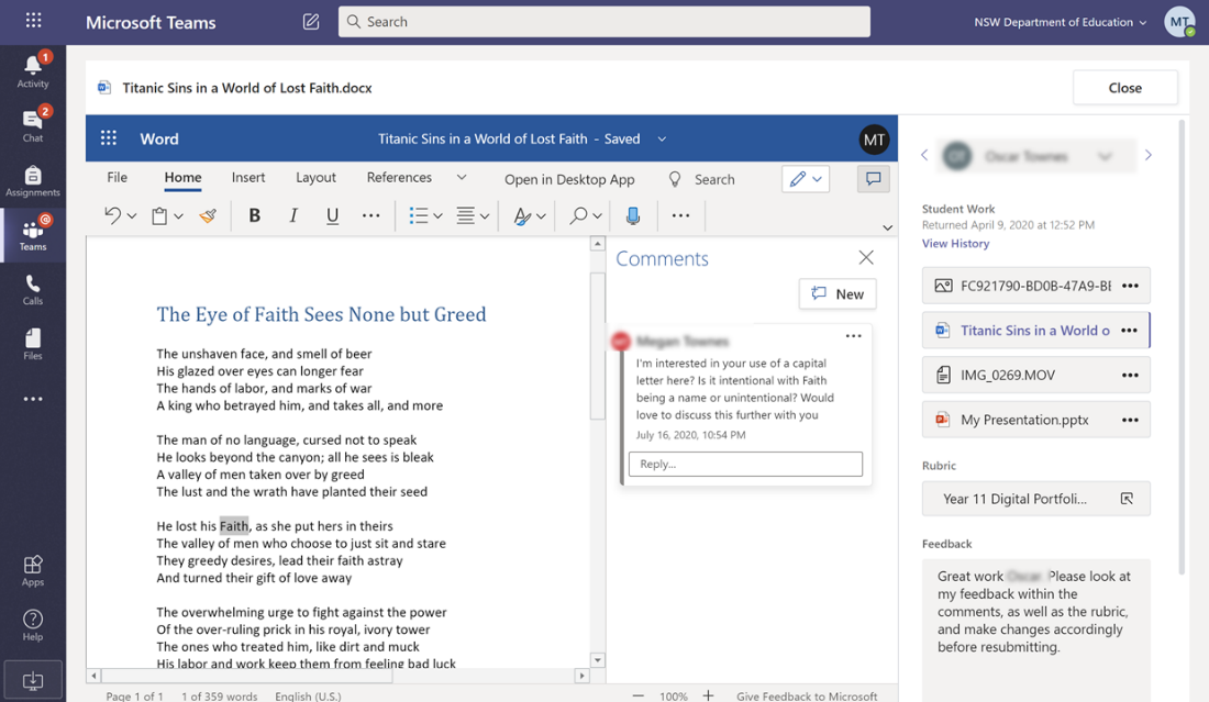 "Microsoft teams pop out of Microsoft word document ""The Eye of Faith Sees None but Greed"""